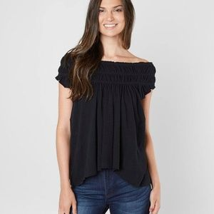 Free People Black Coconut Gathered Top NWOT